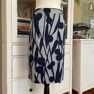 Boden navy and grey pencil skirt